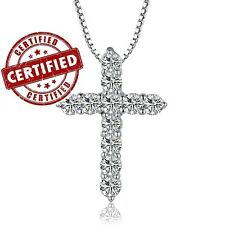 Certified Sterling Silver 11 Simulated Diamonds Cross Pendant  w/ 18'' Necklace