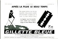 Publicité ancienne lame rasoir Gillette bleue 1938 issue de magazine