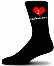 I Love Badminton Socks. Black Cotton Socks.