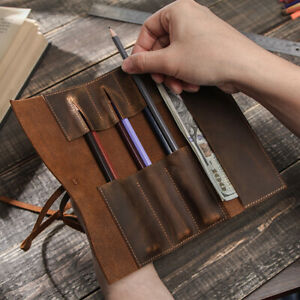 Newly Leather Roll Pen Pouch Vintage Roll-Up Pencil Case Storage Bag Pen Curtain