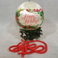 1970s Hallmark The Kissing Ball Hanging Mistletoe Ornament Satin Christmas Ball