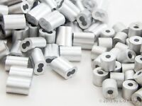 100 Ferrule 3/32 Dbl. Barrel Aluminum Cable Snare Wire Swage +100 Line Stop End