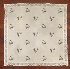 "Linen Tablecloth Lace Trim w/ Embroidery. Made In Austria. UBELHOR. 30"" X 30"""