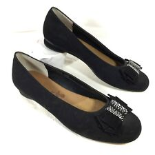 GUC Ros Hommerson Black Satin Pumps with Bow & Crystals Sz 10 M