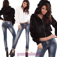 Giacca donna eco pelliccia cappuccio zip morbida giubbotto giacchetto calda C5