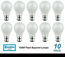 10 x 100W Pearl Light Globes Bulbs B22 Bayonet Halogen Warm White Dimmable A60