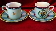 Essex Collection katmandu circus theme set of 2 demitasse cups and saucers