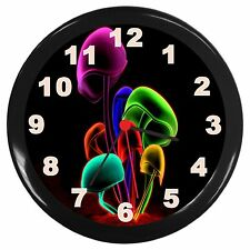 Neon Mushrooms Room Decor Wall Clock