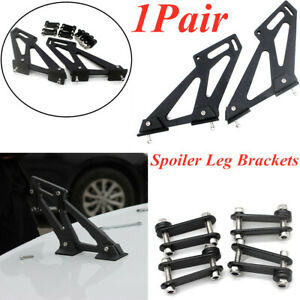 Rear Wing Trunk Spoiler Legs Brackets Mount Side Plates Universal Black 1Pair