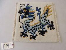 "16"" Square Tibetan Dragon Design Wool Small Rug"