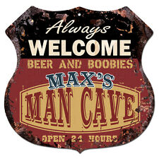 BPMC0255 MAX'S MAN CAVE Rustic Shield Sign Man Cave Decor Funny Gift Ideas