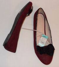 New ladies FIORE faux suede maroon slipon flat Shoes Size UK5 RRP£12