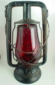 Vintage Antique Dietz Monarch Red Globe Railroad or Barn Lantern