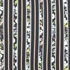 Tessuto al 1/2 Metro Abbigliamento Georgette CONNY Nero a Righe e Fiori Colorati