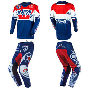 O'Neal Element Warhawk Blue Jersey Pants motocross dirt bike gear package combo
