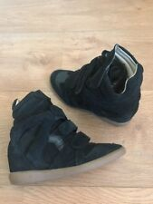 ISABEL MARANT Black Suede Leather Bekett Wedge Sneakers Boots Size 5UK 38 Etoile