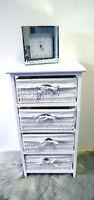 4 Drawer Wicker Storage Unit Basket Drawer White Wood Organiser Bathroom Bedroom