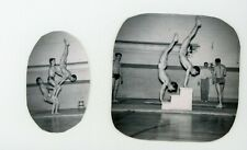 Handsome fit muscular shirtless guys acrobatic poses  Vintage photo Gay interest