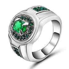 Size 6 Green Emerald Zircon Ring Women's 10Kt White Gold Filled Wedding Band