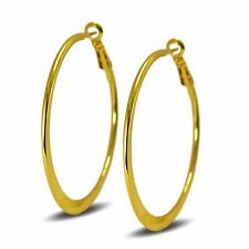 Medium 50mm 18ct Gold Filled Hoop Earrings Womens Creole
