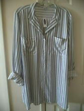 Old Navy Womens Everywear Tee Ivory Blue Red Stripe Sleeve 2X