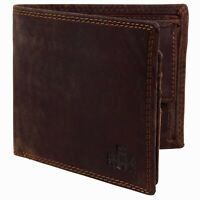 Mens Rugged Oiled Cognac Hunter Leather Bi Fold RFID Wallet Rowallan of Scotland