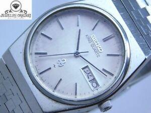 SEIKO KING QUARTZ 5856-7020 DAY-DATE SILVER MEN'S VINTAGE WATCH JAPAN
