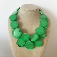 Green Turquoise Stone Necklace Double Strands Stones Heavy Bib Statement Necklac