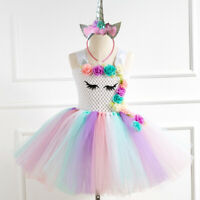 Birthday Wedding Toddler Girls Unicorn Tutu Dress+Headband Pageant Party Costume