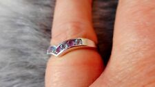VINTAGE  9 CT WHITE GOLD RING SET WITH AMETHYSTS & AQUAMARINES   Z46