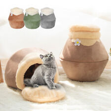 Warm Fleece Igloo Cat Bed Cozy Small Puppy Dog Cave Bed Indoor Kennel Mat Crates