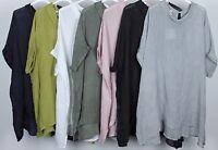 New Ladies Italian Cowl Neck Boxy Plain Casual Quirky Linen Lagenlook Tunic Top