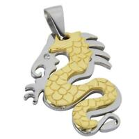 Fashion Men's Golden Stainless Steel Dragon Charm Pendant fit Chain Necklace