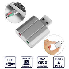 USB 2.0 External Stereo Sound Card Audio Adapter for Windows, Mac. Plug and Play