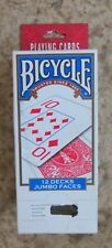 NEW Bicycle Playing Cards 12 Decks Jumbo Faces Red & Blue Unopened