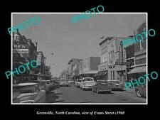 OLD LARGE HISTORIC PHOTO OF GREENVILLE NORTH CAROLINA, VIEW OF EVANS St c1960