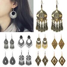 Carved Ear Stud Hook Dangle Earring Vintage Bohemian Ethnic Tribal Women Bronze