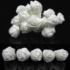 SET 10 Blanco Pasadores Satén Rosas FLORETE Boda Novia Adorno Para Cabello