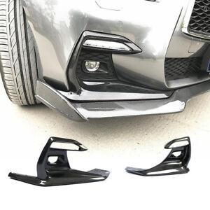 For Infiniti Q50 Sport Sedan 18-20 Carbon Fiber Fog Light Cover Trim Bezel 2PCS