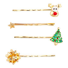 Lux Accessories GoldTone Christmas Holiday Reindeer Hair Clip Bobby Pin Set 4PC