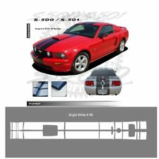 Ford Mustang GT 2005-2009 w/ Hood Scoop Stripes Graphic Kit - Bright White