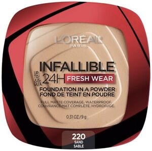 Loreal Infallible 24 Hr Fresh Wear Foundation 220 Sand Powder Tik Tok 9g