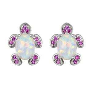 Popular Pink Simulated Opal Silver Jewelry Simulated Opal Cute Turtle Stud Earri