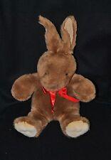 Peluche doudou lapin SCHWARZKOPF brun marron noeud rouge 24/37 cm assis TTBE