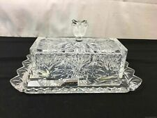 Glass Butter Dish With 2 Knives