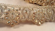 5cm- 1 meter Beautiful gold embroidered beaded lace trim edging for crafts DIY