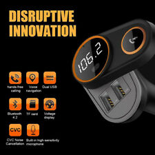 Bluetooth 4.2 Wireless Handsfree Car FM Transmitter MP3 Player 2 B Charger CA