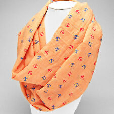 Coral and Multi Anchor Infinity Scarf