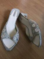 Baldinini Grey Suede Sparkly Slip on Mid Heel Mule 38 or 5 Vtg Sandal Peep Toe