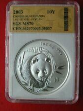 China 2003, WWF Panda 10 Yuan Silber, UNC, MS70 (p010)